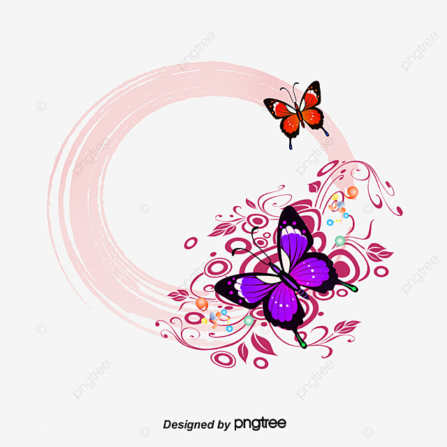 vector colorful butterfly border frame hand painted
