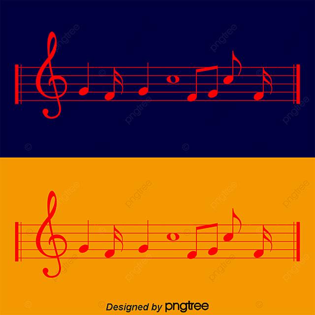 Notas Musicales En Un Pentagrama Vector Material Notas Musicales En