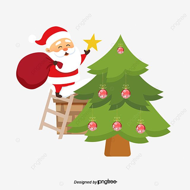 santa claus decorating a christmas tree santa claus five pointed star christmas tree - Santa Claus Christmas Decorations