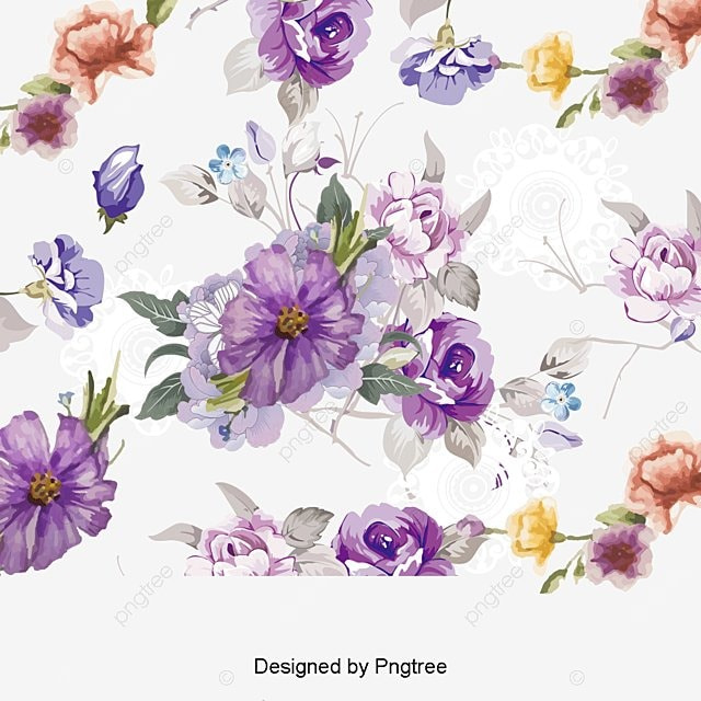 Watercolor Flowers Png Vector Psd And Clipart With: Purple Acuarela Flores Vector Material, Pintado A Mano