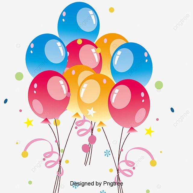Color Cartoon Happy Birthday Balloon, Cartoon Clipart, Decorative ...