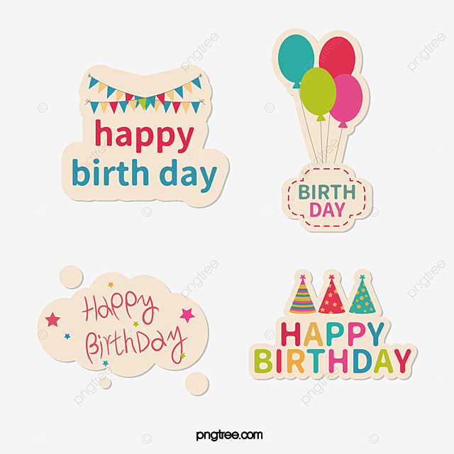 Vector birthday stickers birthday card happy birthday balloon png and vector