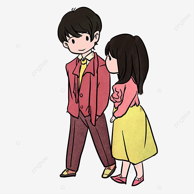 Pintado A Mano De Par Pareja De Dibujos Animados Amor Red Love