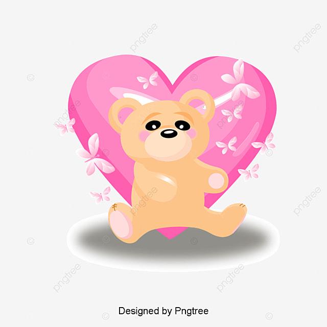 Dessin de peints la main le papillon adorable nounours de coeur le dessin de l animal winnie - Coeur nounours ...