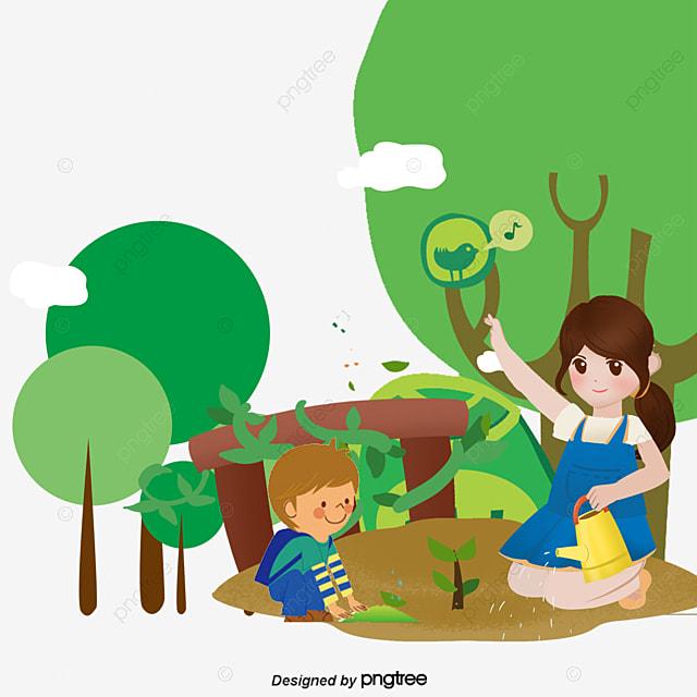 Vector Tree Planting, Tree Vector, Tree Clipart, Spring ...