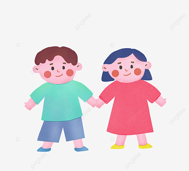 cartoon cute children holding hands unity cute clipart children rh pngtree com Holding Hands Cartoon Holding Hands Black and White