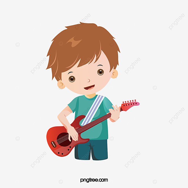 Boy playing guitar, Hand Painted, Musical Instruments