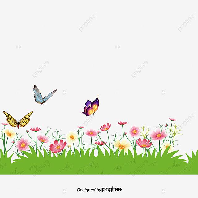 حقل من الزهور و ترقص الفراشات زهور المتجه مرج Png وملف Psd للتحميل مجانا