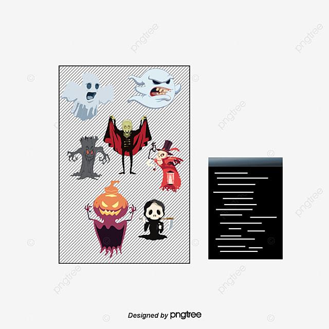 11 Párrafo Halloween Cartoon Character Design Vector Material ...