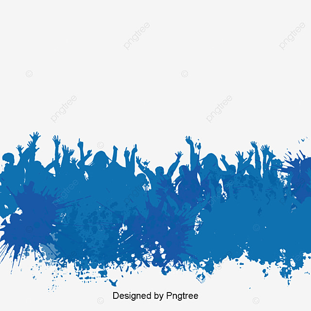 People Blue Watercolor Poster Background Material PNG And