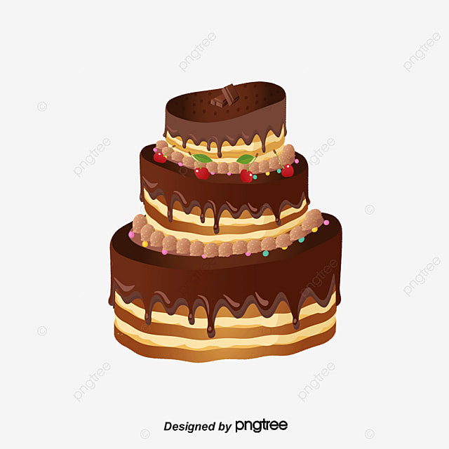Chocolate Birthday Cake Vector Material Chocolate Vector