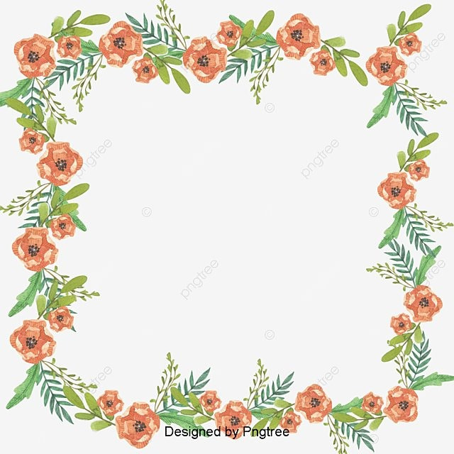 Romantic Pink Flower Border Flower Clipart Leaves Flowers Png