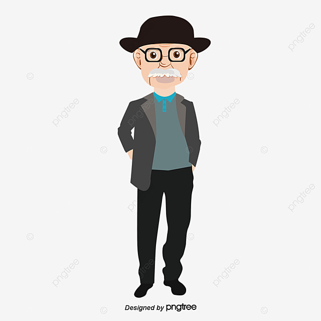Bearded Uncle Cartoon Painted Character Png And Vector