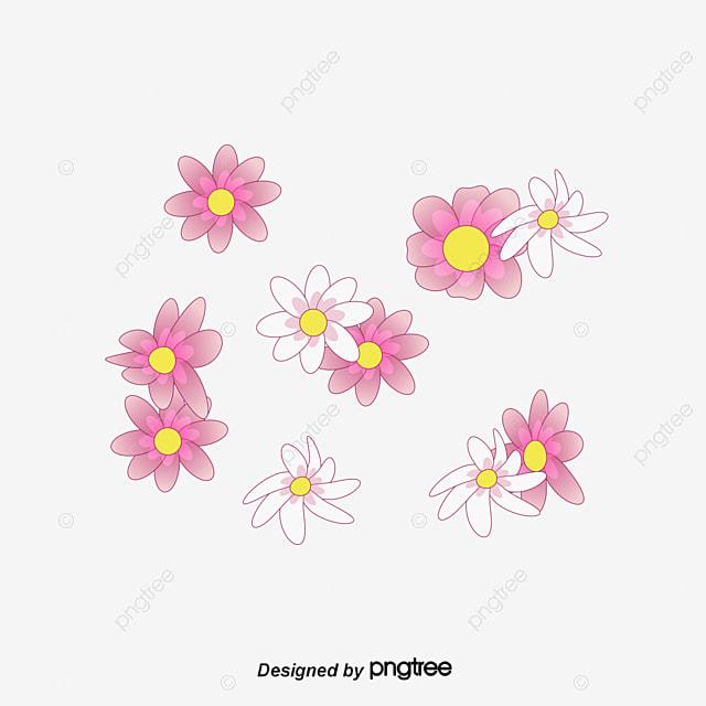 Pintado a mano de flores vector de dibujos animados Bonitas