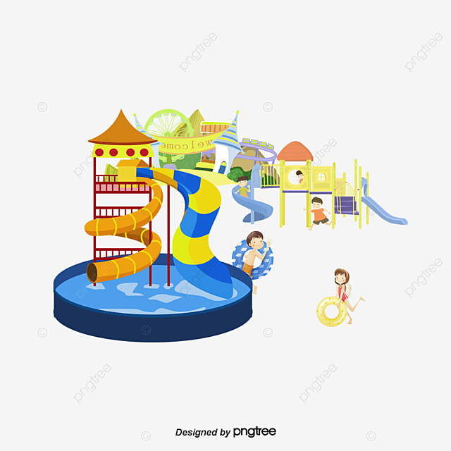 Vector Waterpark Slippery Slide Swimming Pool Game Png And Vector For Free Download