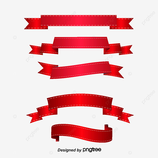 Decorative Red Ribbon Vector Material, Ribbon, Origami Tag ...