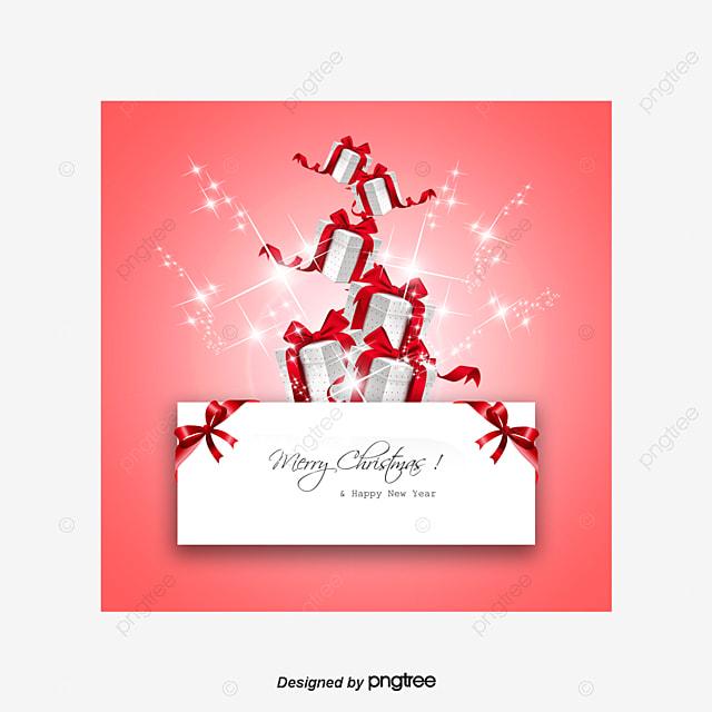 Pink Christmas Card Design Creative Gift Boxes Christmas Vector