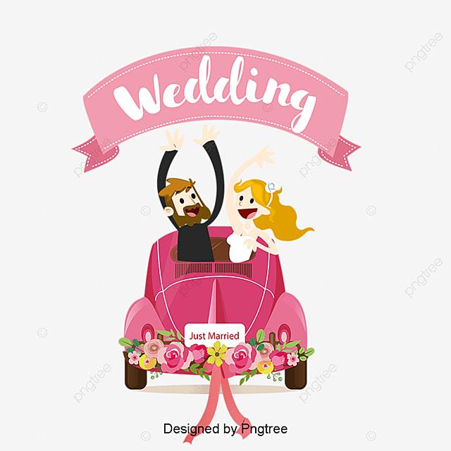 アニメ婚车背景ベクトル素材 アニメ婚车 結婚式の新人と車 新人と婚车