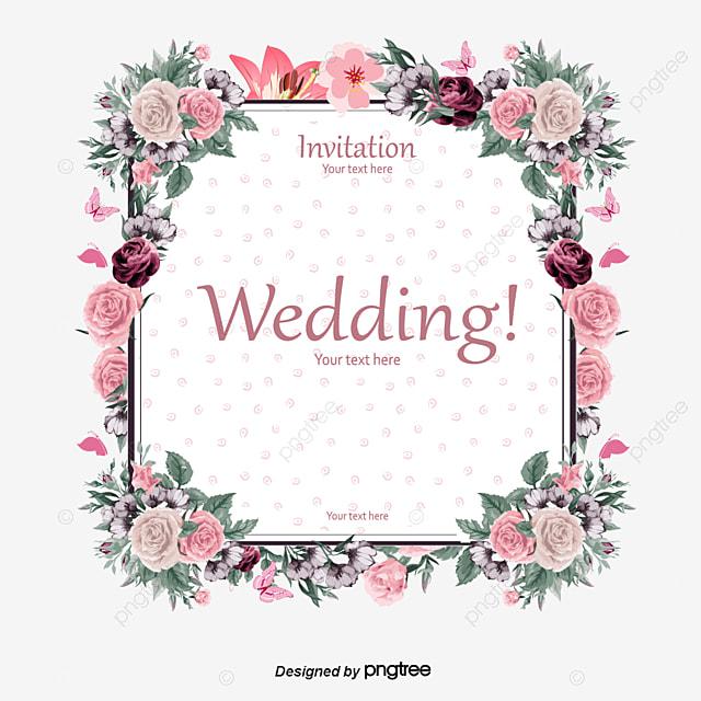 Elegant Floral Border Wedding Invitation Card Vector Material Clipart