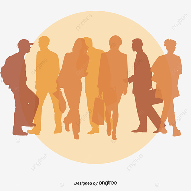 Passers By Walking Silhouette Vector Mens Ms Children Free PNG And