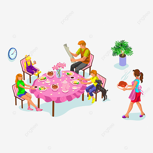 A Person At Dinner Eat Family Dine Together PNG And Vector