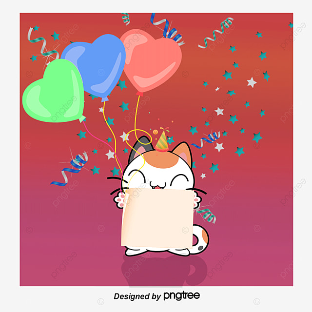 Cute Cat Birthday Cards Vector Material Clipart PNG