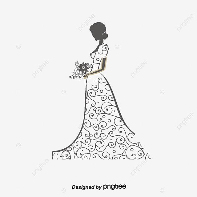 54d617e19 Vector Hermosa Novia Hermosa Boda Vestido De Novia Falda Larga ...