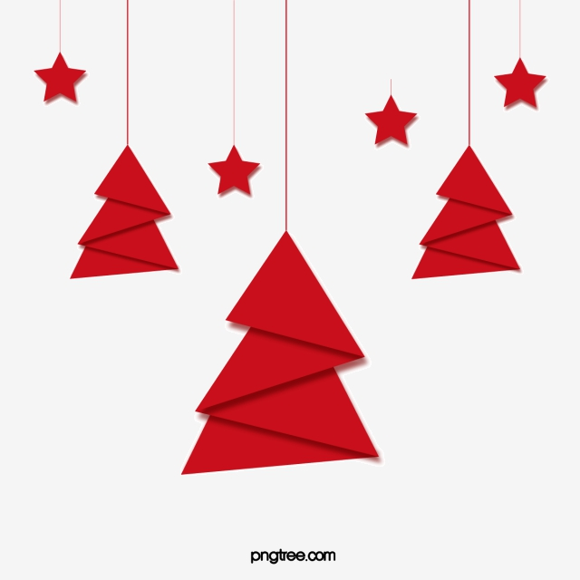 Fold The Red Paper Christmas Tree Tree Clipart Red Christmas Tree
