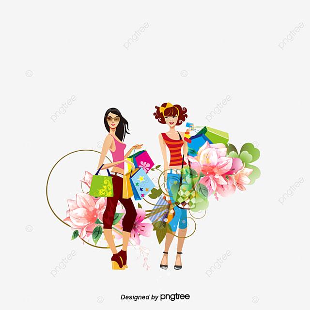 shopping girl shopping shopping bag cartoon png and psd