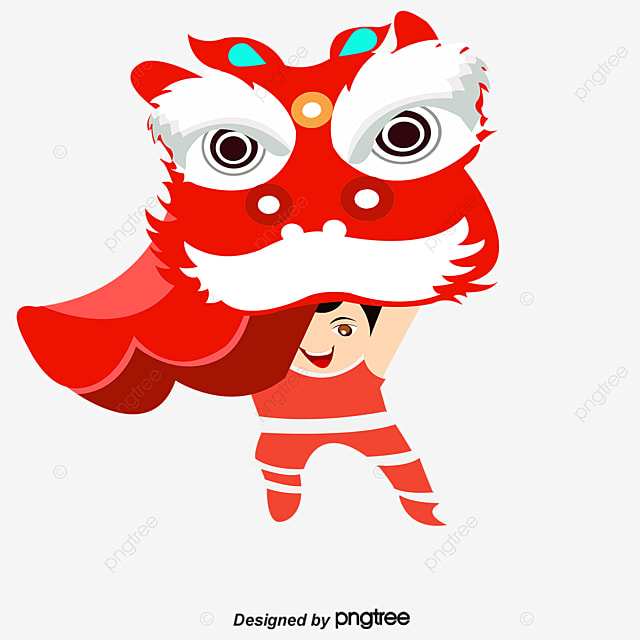 Lion Dance Boy Cartoon PNG And Vector
