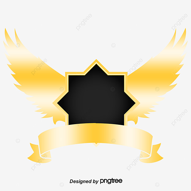 noble golden shield with wings pull material free shield vector