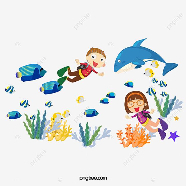 Mergulho No Fundo Do Mar Vector A Criança Do Fundo Do