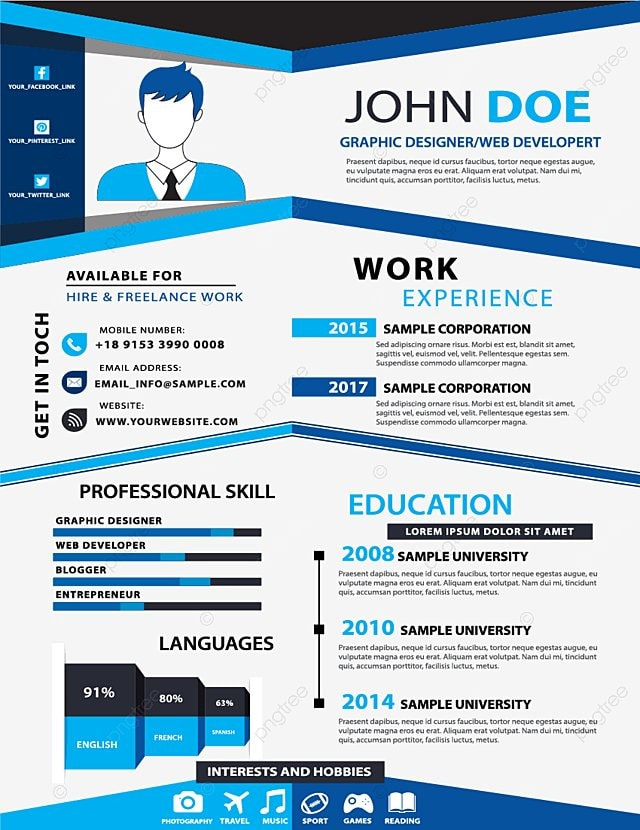 Blue Creative Resume Templates  Blue  Creative  Data Chart