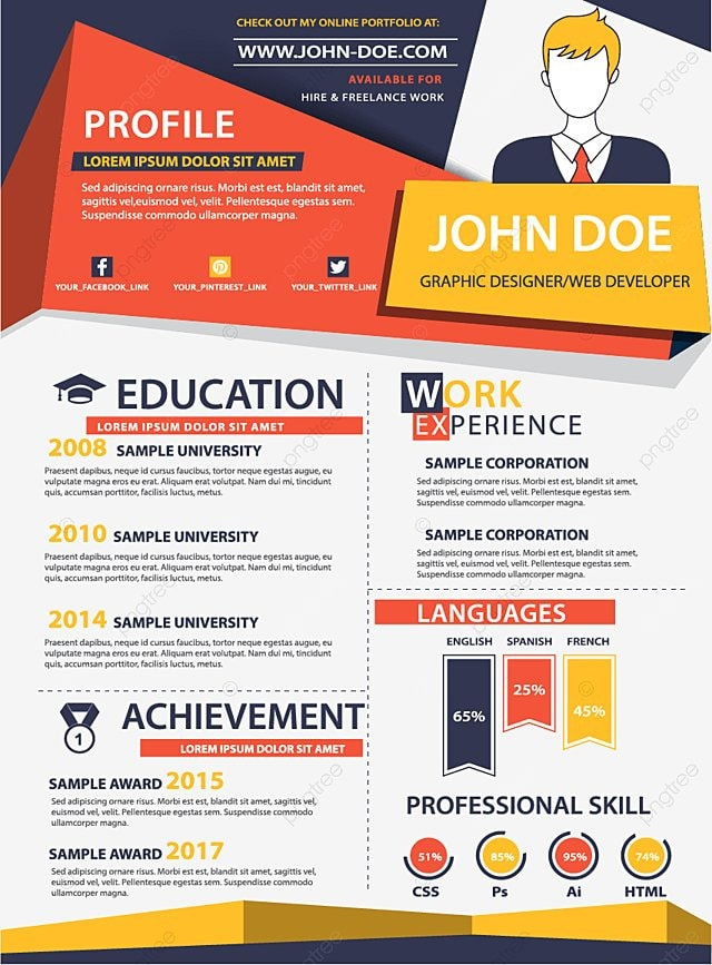 orange retro cv retro resume job png and vector for free download