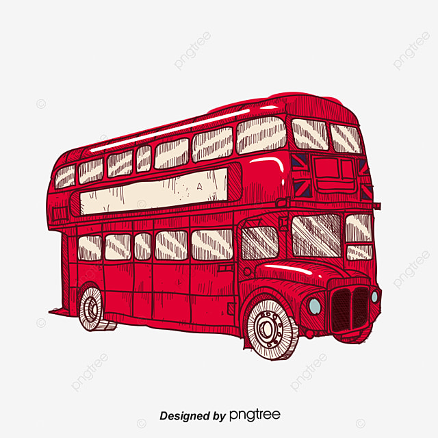 cartoon red double decker bus bus clipart cartoon clipart hand rh pngtree com Double-Decker Bus Coloring Page Double-Decker Bus Drawing