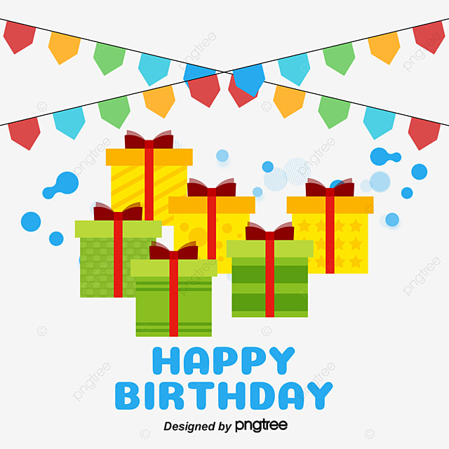 Birthday Gift Box Vector Material PNG And