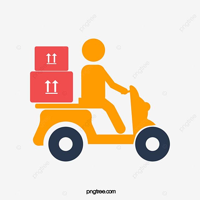 Un Coursier Moto De Vecteur Transporter Des Marchandises Gratuit PNG Et