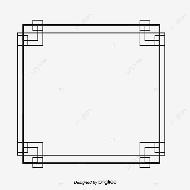 Simple Black Stripe Frame Vector Material Shaped Box PNG And
