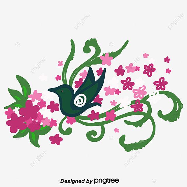 Flores De Vectores De Fondo De Ave Flores Fondo Decorativo Bird