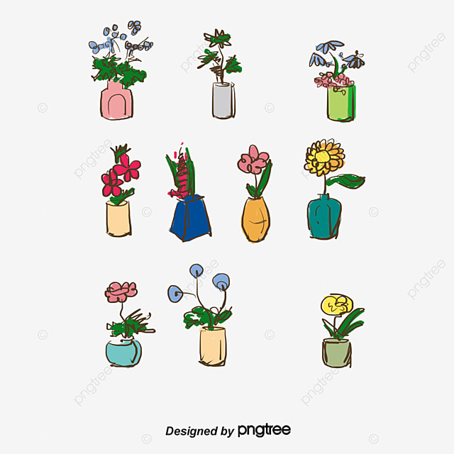 12 Vases Of Flowers Vector Flower Vase Vector Vase Of Flowers