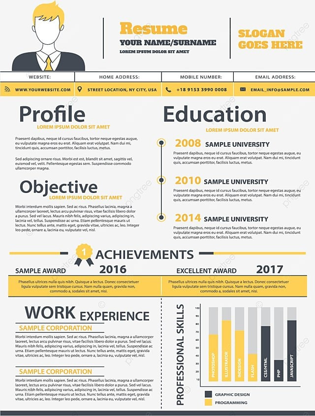 Yellow Flat Cv Yellow Flat Resume Png And Vector For Free Download