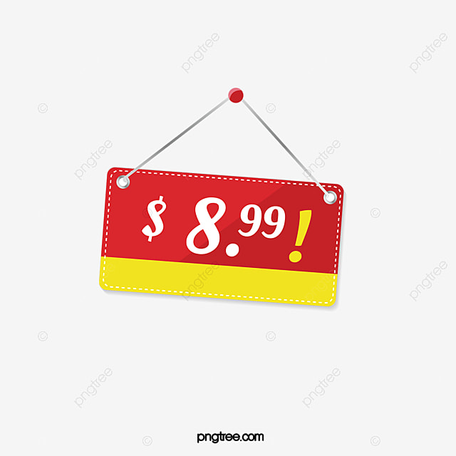Red price tag red free dollar png image and clipart