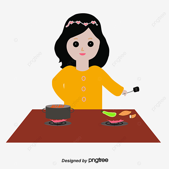 Woman cooking, Vector, Clothing, Home Life PNG and Vector ...