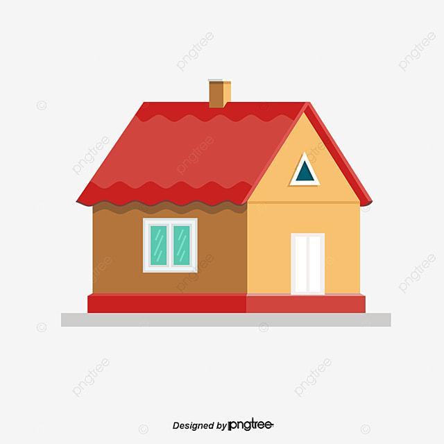 Casa de telhado vermelho dos desenhos animados desenho for Toit de maison dessin