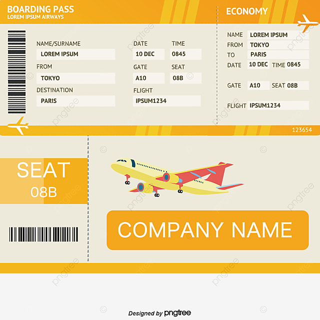 Blue Flat Ticket Template, Blue, Flat, Air Tickets Free PNG And Vector  Airplane Ticket Template