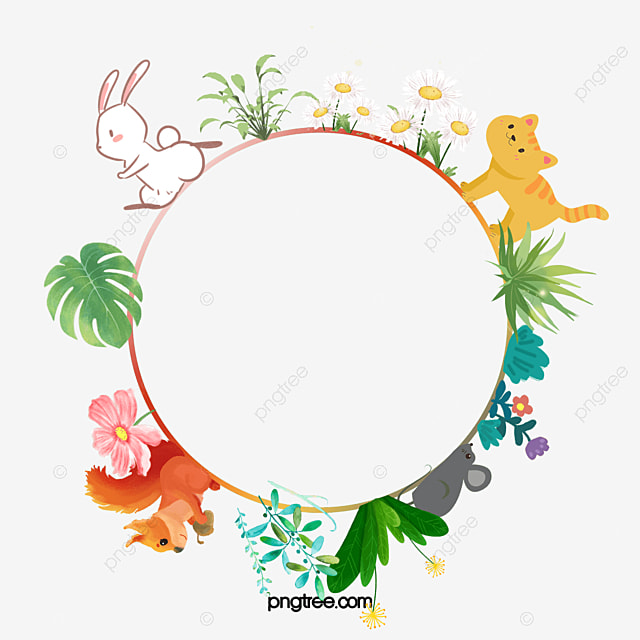 Forest Animal Watercolor Round Background Animal Clipart
