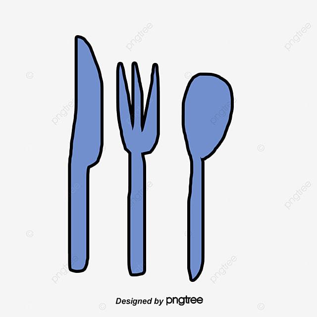 vector blue cartoon spoon knife fork fork western food, vector