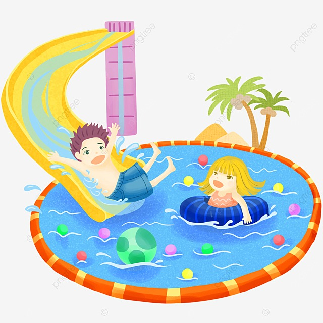 Vector Children Playing In The Playground And Swimming