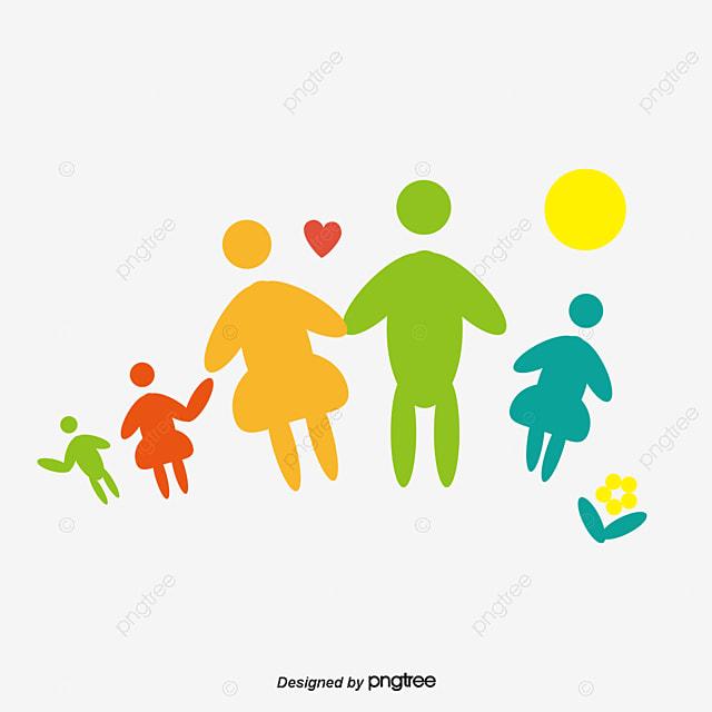 Familia Feliz De Dibujos Animados Lindo Material La Familia De