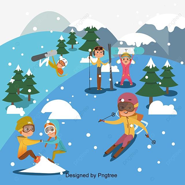 Los Niños Juegan Deportes Cartoon Poster Vector Material, Dibujos ...